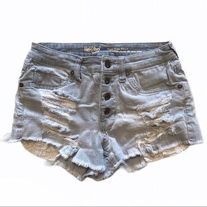 Mossimo High Rise Jean Shorts-Button fly-Sz 2/26